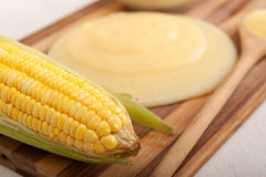 Polenta corn maize flour cream Royalty Free Stock Image