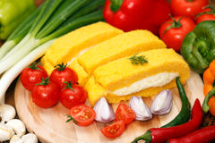 Polenta with cottage cheese Royalty Free Stock Photos