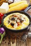 Polenta cozido com vegetais e queijo Fotografia de Stock Royalty Free
