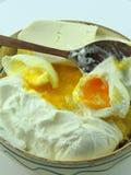 Polenta, cream, cheese, eggs. Traditional romanian food - polenta, cream, cheese, eggs Stock Photos
