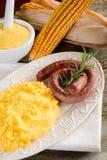 Polenta e salsiccia Fotografia Stock Libera da Diritti