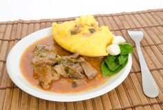 Polenta with lamb stew Stock Photos