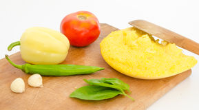 Polenta met groenten Stock Foto's