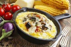 Polenta met groenten en kaas wordt gebakken die Royalty-vrije Stock Fotografie