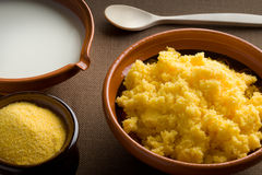 Polenta with milk Stock Photography