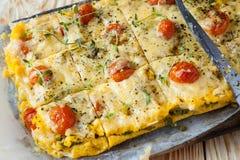 Polenta saboroso com queijo na placa Imagem de Stock Royalty Free