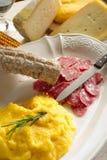 Polenta with salami Royalty Free Stock Photo