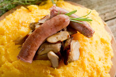 Polenta sausage mushroom Royalty Free Stock Photography