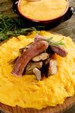Polenta sausage and mushroom Royalty Free Stock Image