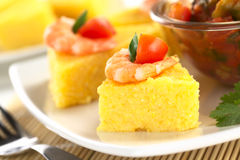 Polenta with Shrimp Stock Photos