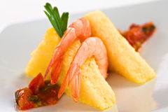 Polenta with Shrimp Stock Images