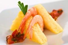 Polenta with Shrimp Stock Images