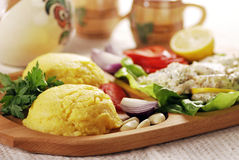 Polenta on traditional wood plateau Stock Image
