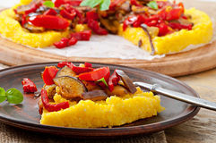Polenta with vegetables Stock Photos