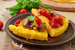 Polenta with vegetables Royalty Free Stock Images