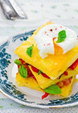 Polenta with vegetables and poshed egg Stock Image