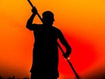 Poler au coucher du soleil Photo libre de droits