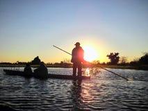 Poler on Okavango Delta Royalty Free Stock Images
