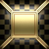 Polerad guld- och svart bakgrund Arkivfoto