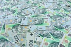 Polerad zlotybakgrund för sedlar 100 Royaltyfria Bilder