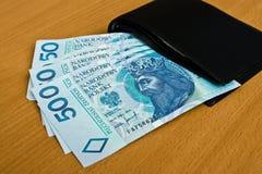 Polerade pengar - zloty, sedlar och plånbok Arkivbilder