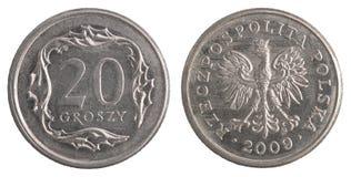 Polermedel 20 groszy mynt Arkivbilder