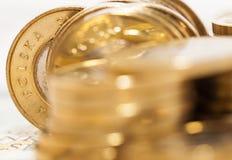 Polermedel myntar tätt upp royaltyfri bild