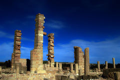 Poles. Demolished towers, the remains of Roman buildings in Sbietla, Tunisia Royalty Free Stock Photography