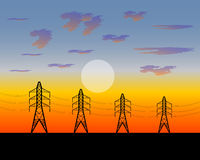 Poles electric an iron construction Stock Images