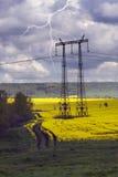 Poles electric in rape Stock Image