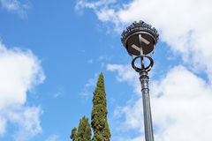 Poles led. Street light against the blue sky with clouds. copy space. Royalty Free Stock Photos