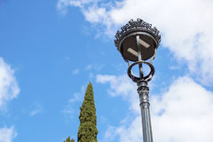 Poles led. Street light against the blue sky with clouds. copy space. Stock Images