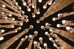 Poles with lightbulbs