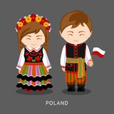 Poles in national dress with a flag. royalty free illustration