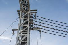 Poles of power lines Stock Photos