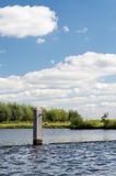 Poles in river. With seagulls Royalty Free Stock Photography