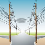 Poles with wires Royalty Free Stock Photo