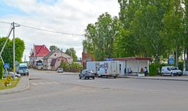 POLESSK, ROSJA Kaliningradskaya ulica w lata popołudniu Fotografia Stock