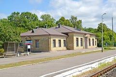 POLESSK, RUSLAND De bouw van het station Stock Afbeelding
