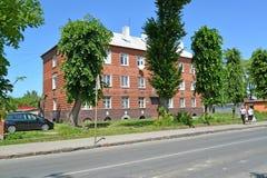 POLESSK, RUSLAND Een baksteenhuis van de Duitse bouw op Kaliningradskaya-Straat Royalty-vrije Stock Foto