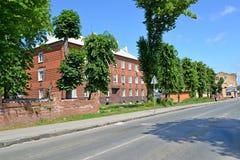 POLESSK, RUSLAND Mening van Kaliningradskaya-Straat in de de zomermiddag Royalty-vrije Stock Foto