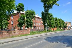 POLESSK, RUSSIA. View of Kaliningradskaya Street in the summer afternoon Royalty Free Stock Photo