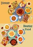 Polewka i sałatka światowej kuchni ikony ustalony projekt ilustracji