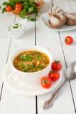 Polewka od świeżej kapusty i pomidoru Fotografia Stock