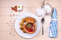Polewka w chlebowym bochenku Fotografia Stock