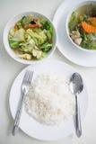 Polewka z i mieszany warzywo smażący słuzyć z białymi ryż Obrazy Stock