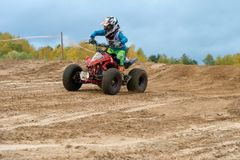 Polezhaev Artem 6. SERPUKHOV, RUSSIA - OCTOBER 7, 2017: Polezhaev Artem 6,  Class ATV-JUNIORS, in the 4 stage  MX series, the Red Wings Cup 2017 super country Stock Image
