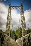 Polhollick för vit metall bro, Ballater i Aberdeenshire - Schotland Fotografering för Bildbyråer