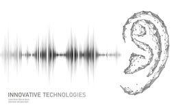 Poli assistente da voz sadia do reconhecimento baixo A malha 3D poligonal de Wireframe torna a onda de rádio sadia da orelha inov ilustração royalty free