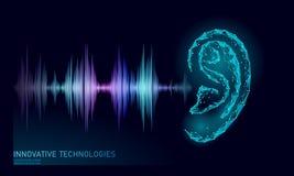 Poli basso di aiuto di voce sana di riconoscimento La maglia 3D poligonale di Wireframe rende l'onda radio sana dell'orecchio inn illustrazione vettoriale